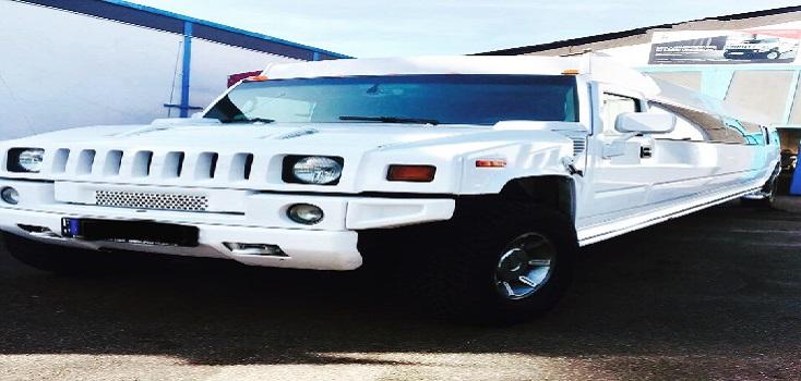 Limousine mieten Hummer H2 in Weiß mit Jetdoor